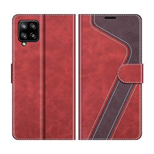 MOBESV Handyhülle für Samsung Galaxy A42 Hülle Leder, Samsung Galaxy A42 Klapphülle Handytasche Hülle für Samsung Galaxy A42 5G Handy Hüllen, Modisch Rot
