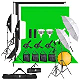 8.5x10FT Backdrop Stand with LED Photography Lighting, 5500K Umbrella Softbox kit with 3 Photography Props, Muslin Green Screen, Black & White Screen for Vlogging, Camera Lighting, Video Conferencing