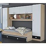 Schrankbett akazie grau/weiß/schwarz B 308 cm Jugendzimmer Kinderzimmer Studentenzimmer Bett Jugendbett Wandbett Gästebett