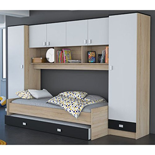 *Schrankbett akazie grau / weiß / schwarz B 308 cm Jugendbett Wandbett Schrank Gästebett Jugendzimmer Kinderzimmer Gäste Studentenzimmer*