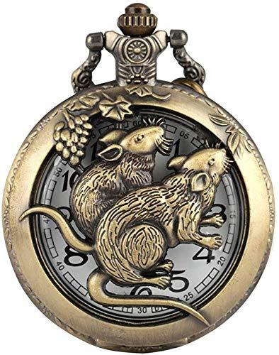 ADSE Klassische Bronze Rat Case Taschenuhr für Männer, traditionelle chinesische Zodiac Theme Design Taschenuhren für Männer, Bequeme schlanke Kette Anhängeruhr für Jugendliche
