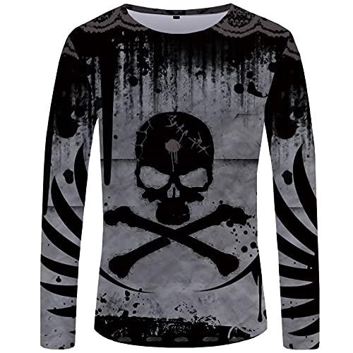 WBYFDC Camiseta Unisex De Manga Larga 3D para Hombre Horror Skull Impresión Digital Otoño Hombre Ropa De Calle Transpirable