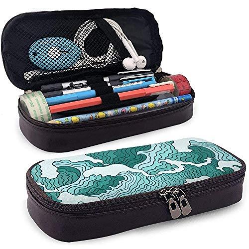 Surf Wave Wallpaper Bleistiftetui Big Capacity Pen Case Schreibtisch Organizer mit Reißverschluss