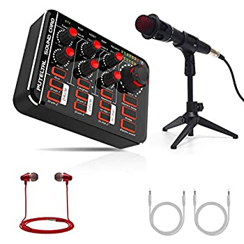 Compact Live Sound Card with Microphone Set PUTELTAL with Drums Karaoke Voice Changer Effects for home party Facebook Youtube Live Streaming/PS4/XBOX Gaming