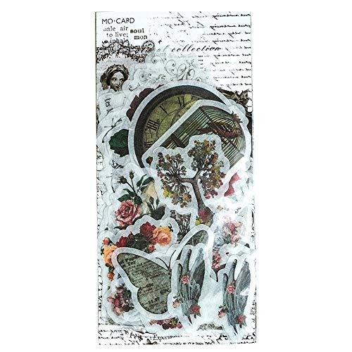 Toruiwa Selbstklebend Sticker Scrapbooking Aufkleber Retro Pflanzen Aufkleber für DIY Tagebuch Album Label Scrapbooking Karten Dekoration Geschenk (H)