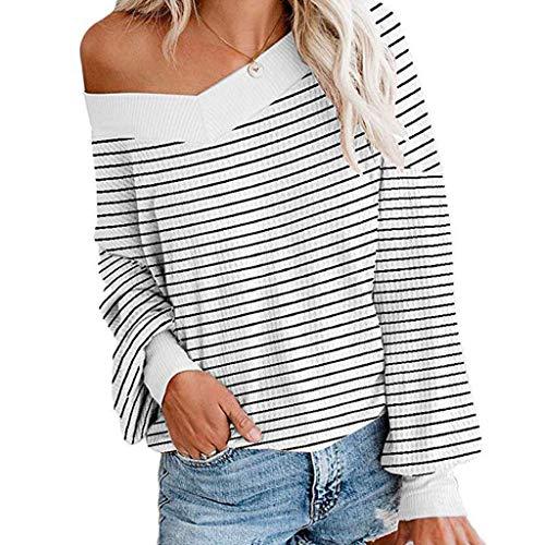 WARMWORD Camisa Mujer Cuello en V Estampado de Rayas Manga Larga De Punto Superior Fuera del Hombro Suéter Jersey Stripe Shirt Otoño Playa y Fiesta Tops Casual Sexy, S-2XL