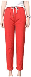 Women Casual Loose Linen Tenths Pants Washed Baggy Harem Pant