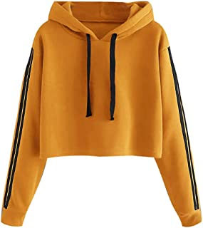 Centory Hoodies for Women Drop Shoulder Sweatshirt Striped Pullover Long Sleeve Crop Top Drawstring Closure T-Shirt