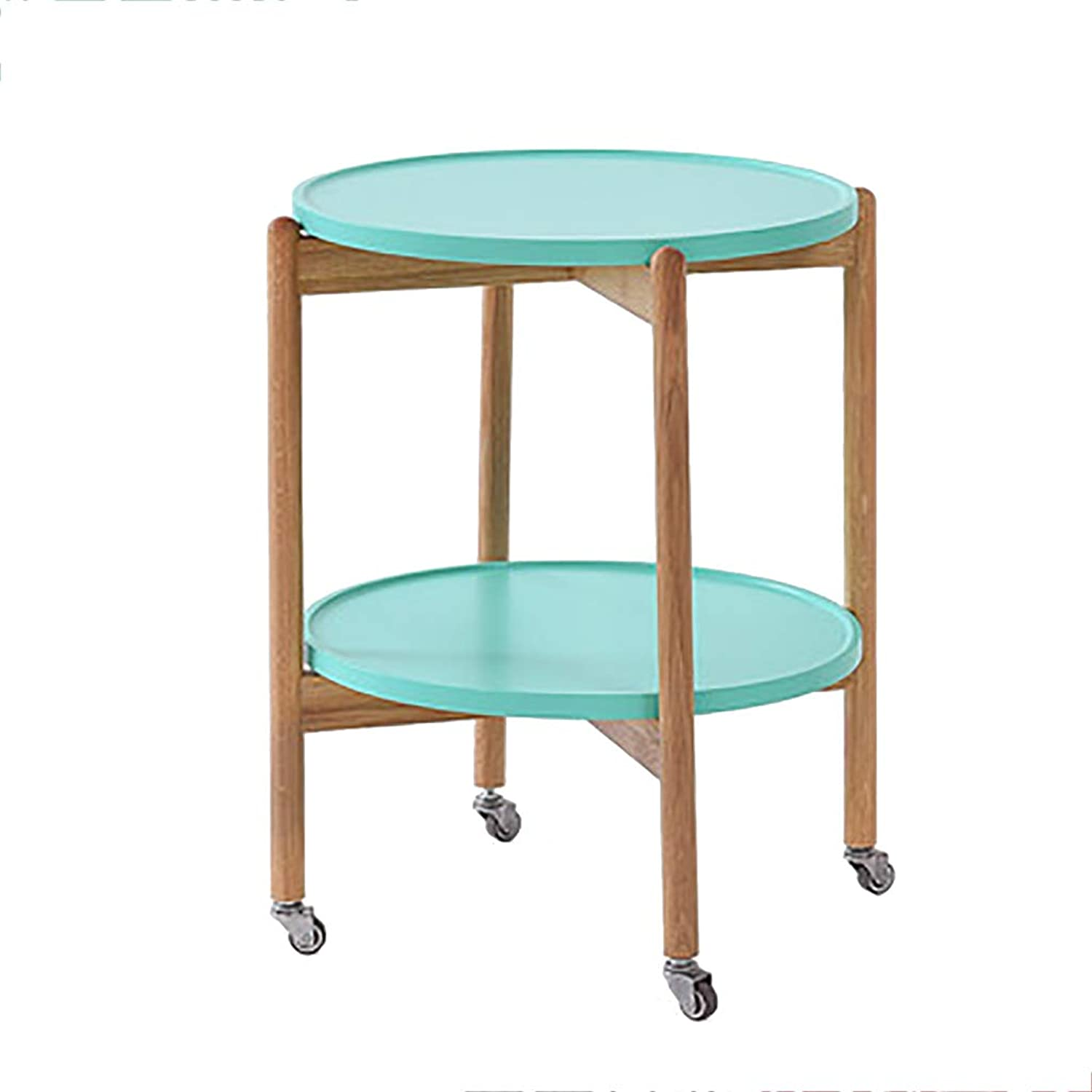 Tea Cart Serving Trolley with Wheel 2 Tier Beech Wood Kitchen Island Dining Service Cart for Family Hotel