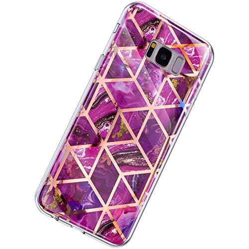 Herbests Kompatibel mit Samsung Galaxy S8 Hülle Marmor Muster Glänzend Glitzer Bling Weich Silikon Hülle Kratzfest Schutzhülle Tasche Crystal Case Durchsichtig Dünn Handyhülle,Marmor Lila