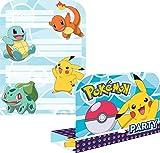 Lot de 8 invitations & enveloppes Pokémon