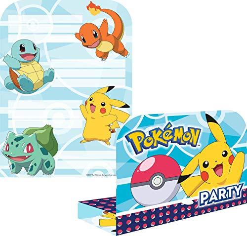 Amscan 9904829 - Einladungskarten Pokemon mit Umschlägen, 8 Stück, Größe 16 x 21,5 cm, Kindergeburtstag