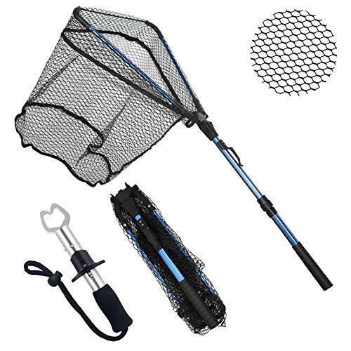 ZHENDUO OUTDOOR Fishing Net Fishing Landing Net Collapsible Telescopic Fishing Nets for Safe Fish Catching or Releasing with Fish Gripper Fishing Gear Tool Set (36.2inch)