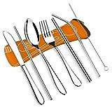 cubiertos 7 pieza portátil de viaje de Acero Inoxidable Cubiertos Cuchillo Tenedor Cuchara Y Beber Utensilios Set cuberteria (Color : Orange)