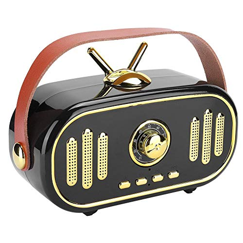 Oplaadbare mini retro draadloze Bluetooth-luidspreker, nieuwe stijlvolle draagbare plug-in-kaart muziekspeler, handgemaakte houten kist radio-subwoofer-versterker om te genieten van verheven stereo su(Zwart)