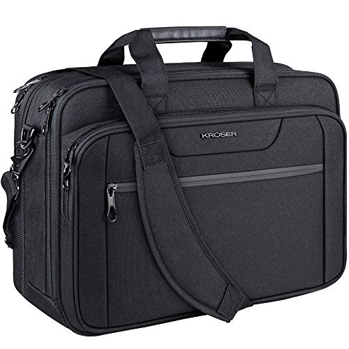 KROSER 18' Laptop Bag Expandable Laptop Briefcase Fits Up to 17.3 Inch Laptop Water-Repellent Shoulder Messenger Bag Computer Bag for Travel/Business/School/Men/Women-Black