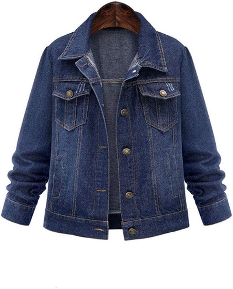 Fashion Store Womens Basic Denim Jacket, Classic Denim Long-Sleeved Jacket Distressed Style Trucker Jacket