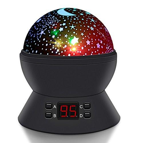 Sterne Nachtlicht projektor, SCOPOW Sternenhimmel Projektor Lampe mit LED Timer 360 Grad Rotation USB/Batterie Betrieben LED Baby Projektion Geschenk Spielzeuge für Kids Kinder Schlafzimmer(schwarz)
