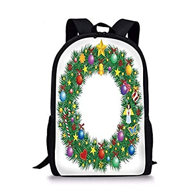 JINGS School Bags Letter O,Christmas Wreath Festive Display of Capital O Circle with Celebratory Elements,Multicolor for Boys&Girls Mens Sport Daypack
