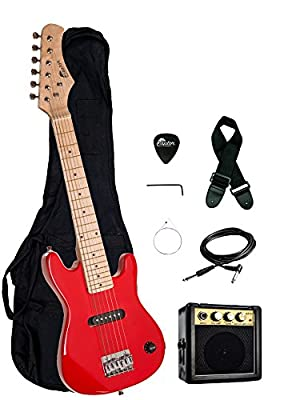 """30"""" Kids 1/2 Size ULTIMATE Electric Guitar Package with 3W Amp, Gig Bag, Strap, Cable and Exclusive RAPTOR Picks"""