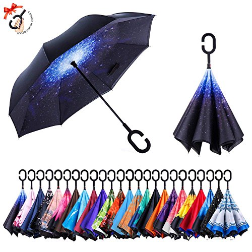 Upside Down Umbrellas with C-Shaped Handle for Women and Men Reverse Inverted Windproof Chimpanzee Animal Ape Umbrella Double Layer Inside Out Folding Umbrella