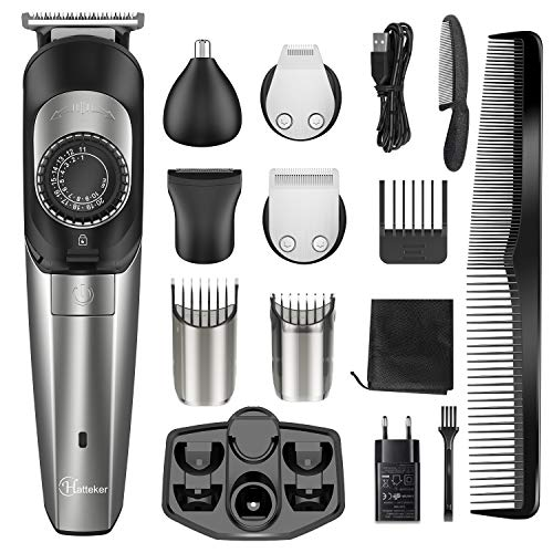 Hatteker Bartschneiderfür Männer Haarschneider Barttrimmer Haartrimmer kabelloserBodygroomer Nasentrimmer Kit Haarschneidemaschine Präzisionstrimmer 5 In 1 mit USB-Laden