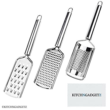 Kitchen Graters - Set of 3 (2 flat, 1 rounded) - Handheld - Stainless Steel Razor Sharp Teeth - High Performance - For Vegetables, Fruits, Cheese, Chocolate