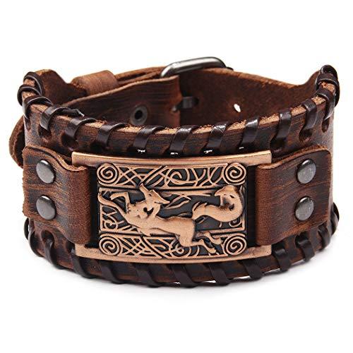 ZOYLINK Breites Echtes Armband Dekoratives Leder Breites Armband Manschettenarmband für Männer