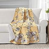 Lush Decor French Country Toile Cotton Reversible Throw Blanket, Yellow & Gray, 60' x 50'