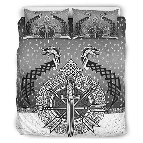 Juego de ropa de cama con diseño de dragón vikingo, suave y ligero, para todas las estaciones, 1 funda de edredón y 2 fundas de almohada para niños, color blanco, 167,6 x 228,6 cm