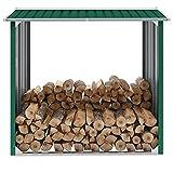 vidaXL Capannone da Giardino Aperto Ventilato Robusto Stabile Capanno Legname Struttura per Legna da Ardere in Acciaio Zincato 172x91x154 cm Verde
