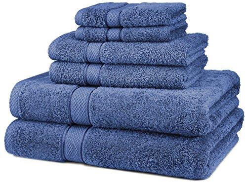 6 Piece 100% Egyptian Cotton 725 Gram Bath Towel Towels Set - Blue