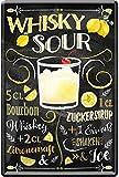 Whisky Sour Cocktail receta Bourbon Whiskey zumo de limón jarabe de azúcar clara de huevo helado 20 x 30 cm bar fiesta sótano decoración cartel de chapa 2259