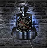 KDBWYC Locomotora de Vapor Tren Reloj de Pared Motor de Vapor Registro Reloj de Pared Tren Locomotora Reloj decoración del hogar Tren Amantes Regalo