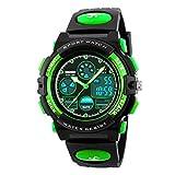 Kid's Digital Watch LED Outdoor Sports 50M Waterproof Watches Boys Children's Analog Quartz Wristwatch with Alarm - Green