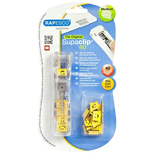 Rapesco Binder Clip #40 Dispenser & 25 Clips Emoji Supaclip(40 Sheet Capacity)