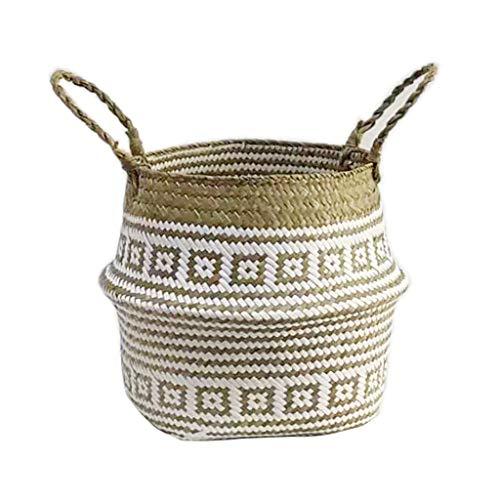 Buy Bargain Shotbow Seaweed Weaving Pots Chrysanthemum White Plaid Folding Storage Basket Home Offic...