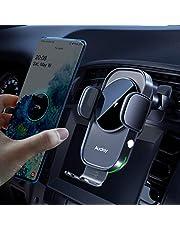 Auckly trådlös billaddare, [elektromagnetisk känsla], Qi 15W snabb i bil trådlös laddare automatisk sensor telefonhållare ventilationsfäste kompatibel med S20/S10, för iPhone 12 Pro Max Mini 11/11 Pro XS/XR etc