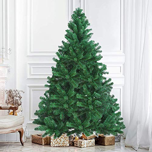 Kingdely 6 ft Artificial Christmas Tree, 1000 Hinged North Valley Spruce Xmas Tree with Metal Foldable Stand Easy Assembly for Indoor Outdoor Christmas Decors