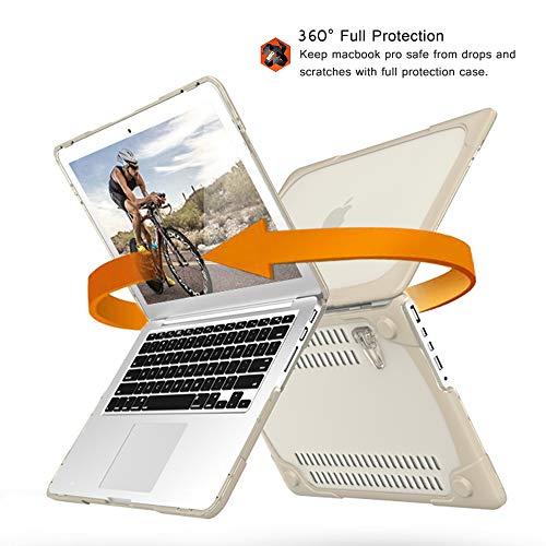 MacBook Air 13 Hülle, Mektron Shockproof Hard Case Cover & Faltbarer Ständer für MacBook Air 13.3 (für A1466/A1369) mit Staubstecker und Tastaturabdeckung (Khaki)