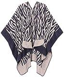 Sakkas 1928 - Lupe Womens Réversible Poncho Wrap Cape Châle Manteau Cardigan Modèle - Blanc Zèbre - OS