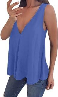 Cami Tops Camiseta con Cuello en V para Mujer Camiseta sin Mangas Chaleco de Verano Blusa Talla Grande