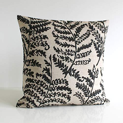 Lplpol Funda de cojín de lona para almohada, funda de almohada de helecho, funda de cojín de 45,7 x 45,7 cm para sala de estar, sofá y cama