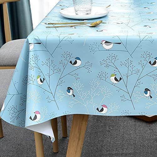 Plenmor Tischdecke Plastik für Quadrat Tische Abwischbare PVC Tischdecke für Esstisch Ölbeständig Wasserdicht Fleckenbeständig Schimmelbeständig (137x137 cm, Birds-2)