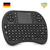 Rii i8 Mini Tastatur Wireless, Kabellos Tastatur mit Touchpad(DE QWERTZ, Schwarz)
