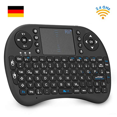 Rii i8 Mini Tastatur Wireless, Smart TV Tastatur, Kabellos Tastatur mit Touchpad, Mini Keyboard für Smart TV Fernbedienung/PC/PAD/Xbox 360/ PS3/Google Android TV Box/HTPC/IPTV (De Layout)