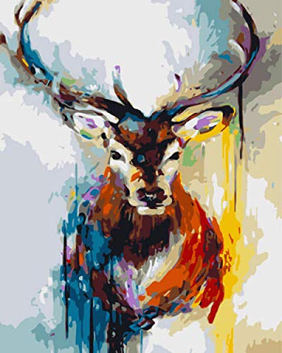 Kit de Pintura acrílica DIY de Ciervos de Colores para Pintar por números para niños y Adultos Principiantes - 16'x 20' con 3 Pinceles y Colores Brillantes sin Marco