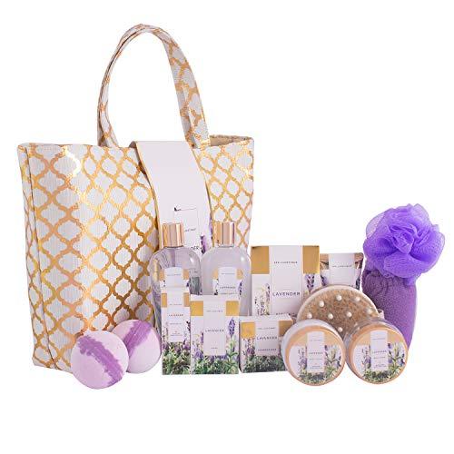 Bad Set Für Frauen, SPA LUXETIQUE 15 tlg. Set Lavendel Duft, Bestes Geburtstagsgeschenk für Sie mit Bodylotion, Badebomben, Trockene Haarkappe & Geräumige Handtasche, Geschenk zum Vatertag