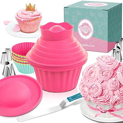 Moldes de repostería para cupcakes grandes de MoNiRo - Molde para magdalena extra grande XXL y manga pastelera para repostería - Cupcakes gigantes - Juego de accesorios de repostería, 30 piezas