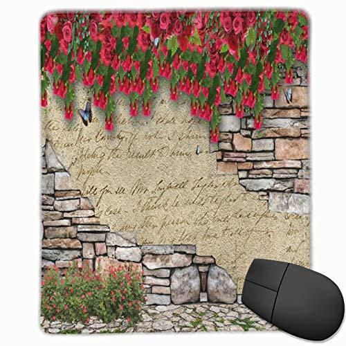 DAOPUDA Gaming Mauspad 250x300x3mm Blumen rustikale Blumen und Schmetterling auf Marmor Backsteinmauer 3D-Fotografie Office Mauspad rutschfeste Mousepad für PC,Computer und Laptop